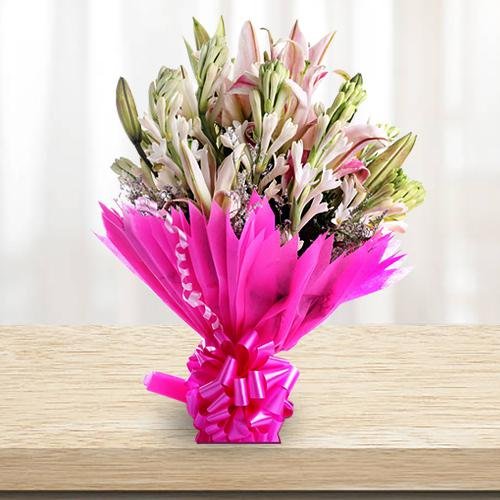 Lovely Bouquet of Lilies and Gladiolus