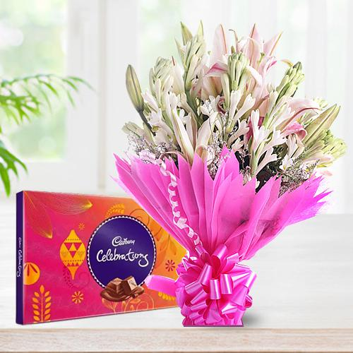 Amusing Lilies N Gladiolus Bouquet with Cadbury Celebration Pack
