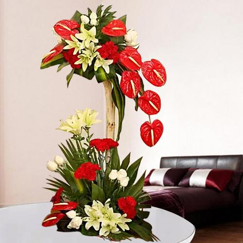 Magnificent Tall Arrangement of Red N White Flowers