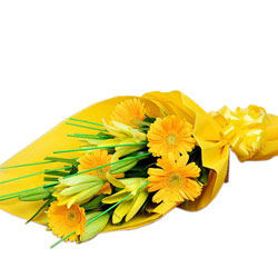 Yellow Gerbera N Lily Bouquet