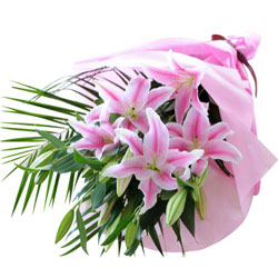 Tender Pink Lilies Bouquet wrapped in a Tissue