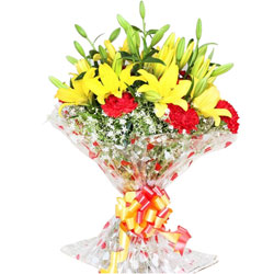 Bouquet of Carnations N Lilies Combo