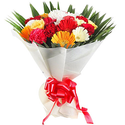 Exquisite Bouquet of Carnations N Gerberas with Roses