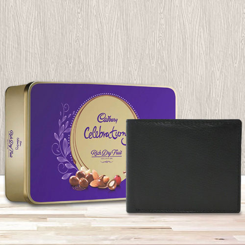 Stylish Black Leather Wallet with a Cadbury Rich Dry Fruits Chocolate