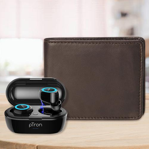 Stylish Mens Leather Wallet with PTron Bluetooth Earbuds
