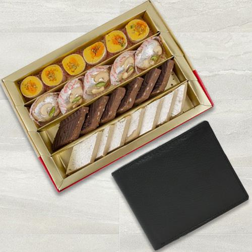 Tasty Bhikarams Assorted Sweets with Gents Leather Wallet from Rich Born