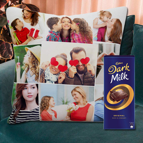 Exquisite Personalized Cushion with a Cadbury Dark Milk Chocolate Bar
