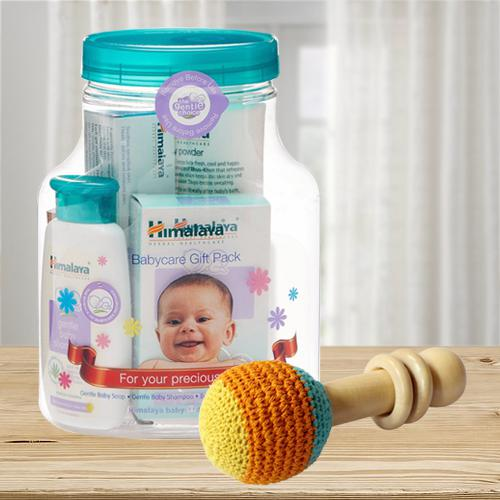 Exclusive Wooden Rattle Toy with Himalaya Herbals Babycare Gift Jar