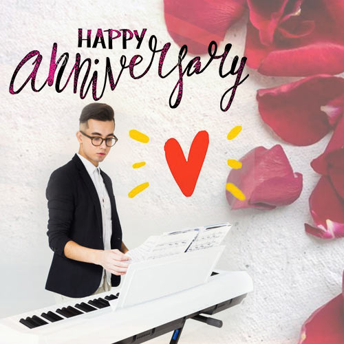 Musical Anniversary Wishes with a Keyboardist at play