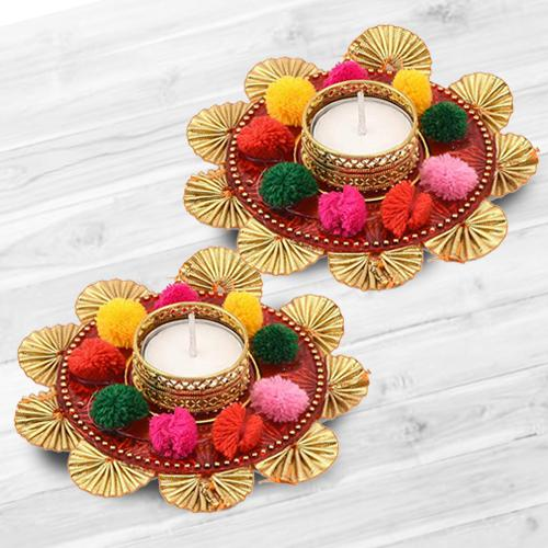 Marvelous Dual Set of Mix Color Flower Design Diya
