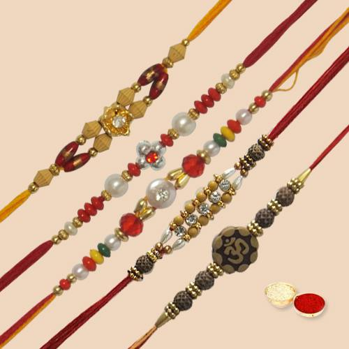 Beautifying 5 Pc. Rakhi Set with free Roli Tilak and Chawal for your Precious Brother on the Occasion of Rakhi