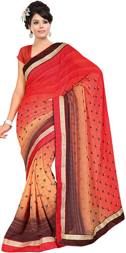 Sizzling Fire Orange, Cream and Brown Shaded Georgette Printed Saree