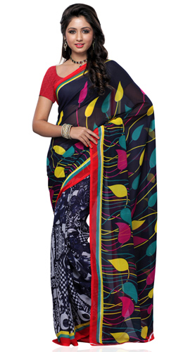 Traditional Georgette Printed Saree in Black and Grey Colour