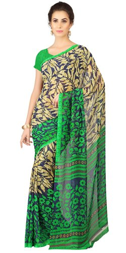 Enticing Weightless Georgette Printed Saree Shaded with Black and Green