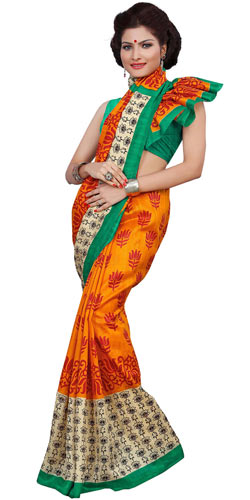 Scintillating Art Silk Colourful Printed Women Saree