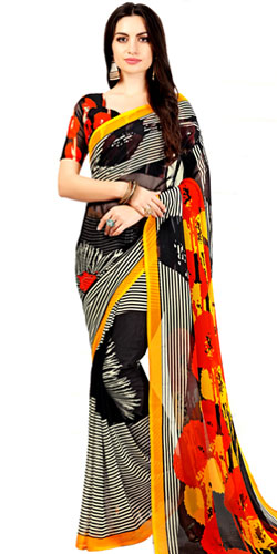 Charming Art Chiffon Striped Print Sari in Black and White