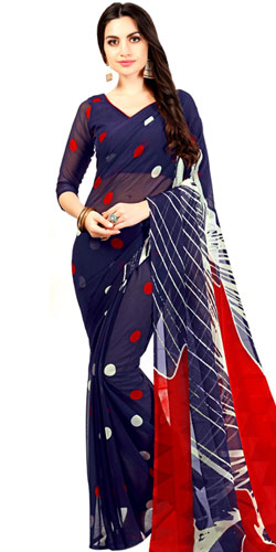 Mind-Blowing Ladies Special Navy Blue Color Printed Chiffon Saree