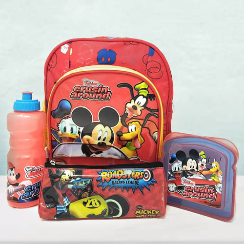 Lovely Mickey Mouse Backpack, Lunch Box N Sipper Bottle Combo