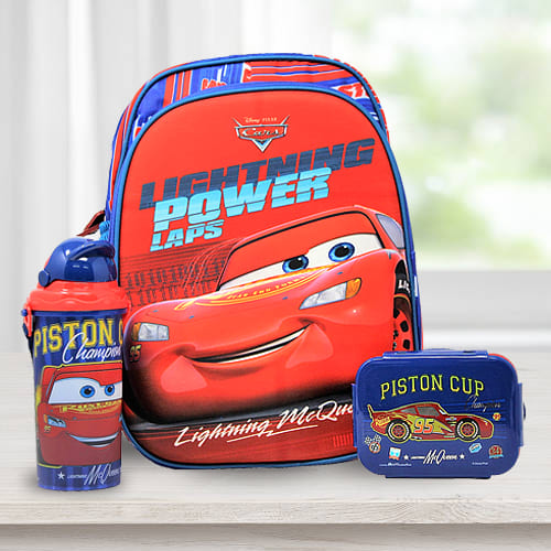 Remarkable Car Design Backpack with Lunch Box n Water Bottle