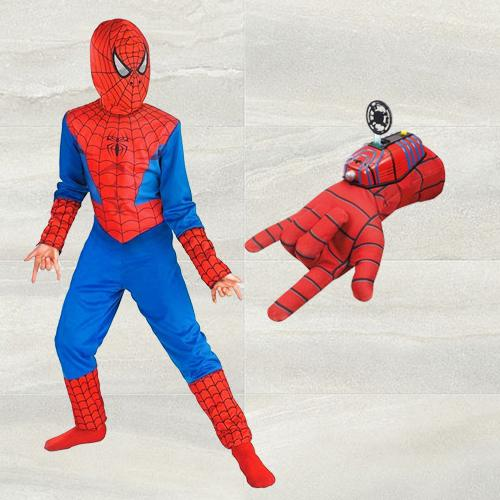 Marvelous Spiderman Costume with Gloves Disc Launcher