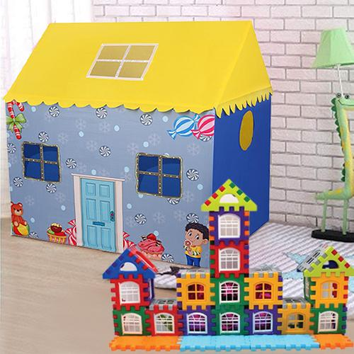 Special Tent House for Boys with 72 Pcs Multi Colored Jumbo House Building Blocks