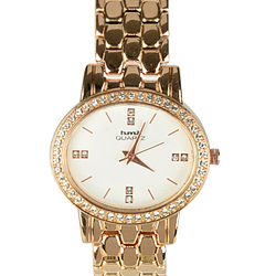 Classy Present of Golden Wrist Watch with Stone Studded Round Dial