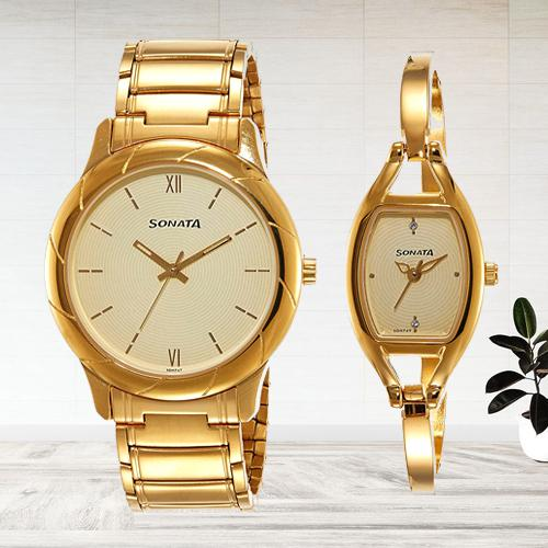 Breathtaking Sonata Analog Beige Dial Couple Watch