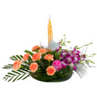 8 Carnation and Orchids with Candle
